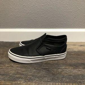 Vans Black Leather Classic Slip Ons